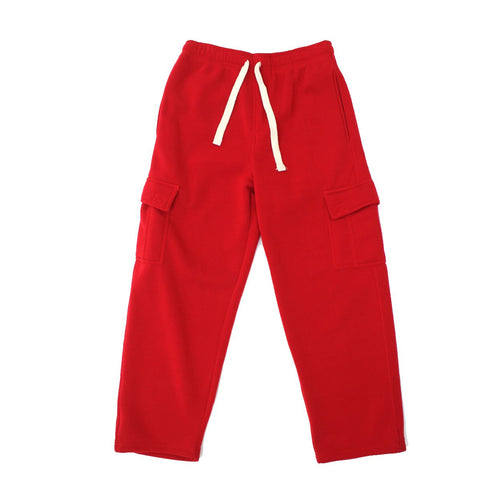 Henry & William Men's Basic Heavyweight Fleece Cargo Pants(Red to White)