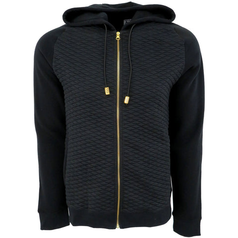H & W Men's Quilted Fleece Full Zip-Up Hoodie Jacket W/Gold Zipper-Black