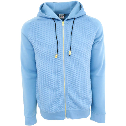 H & W Men's Quilted Fleece Full Zip-Up Hoodie Jacket W/Gold Zipper-Blue