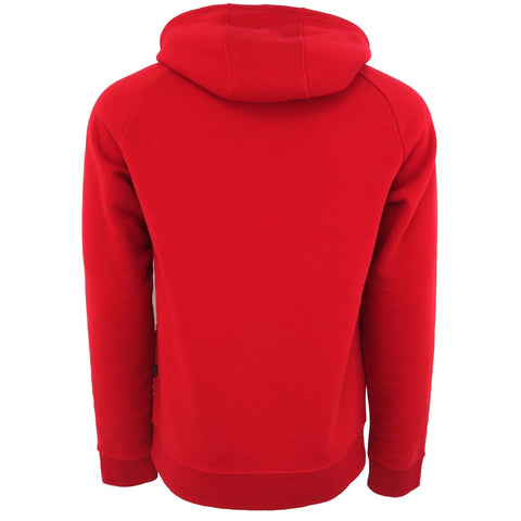 H & W Men's Quilted Fleece Full Zip-Up Hoodie Jacket W/Gold Zipper-Red