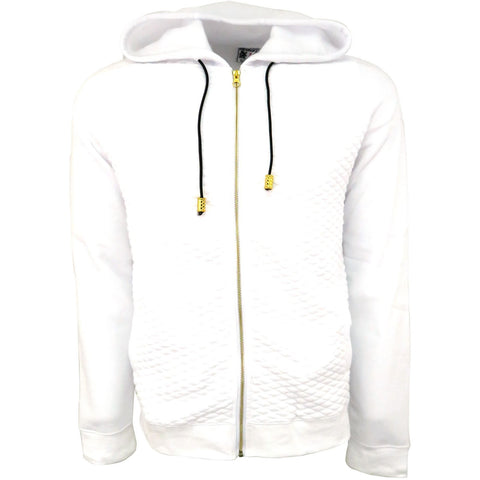 H & W Men's Quilted Fleece Full Zip-Up Hoodie Jacket W/Gold Zipper-White