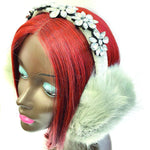 Load image into Gallery viewer, Women's Faux Fur Ear Muffs with Rhinestone Flower Accent