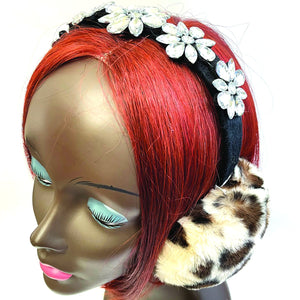 Women's Faux Fur Ear Muffs with Rhinestone Flower Accent