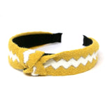 Front Knot Detail Accent Zigzag Pattern Ribbed Fashion Headband