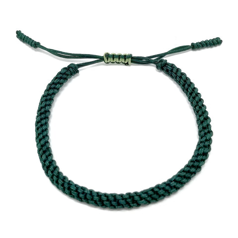 Tibetan Mantra Style Knots Lucky Rope Bracelet-Thickness 4mm  Wide 45mm to 80mm, Green