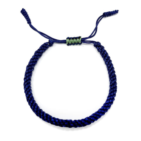 Tibetan Mantra Style Knots Lucky Rope Bracelet-Thickness 4mm  Wide 45mm to 80mm, Navy