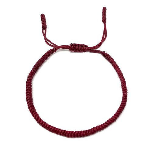 Tibetan Mantra Style Knots Lucky Rope Bracelet-Thickness 3mm  Wide 50mm to 75mm, Burgundy