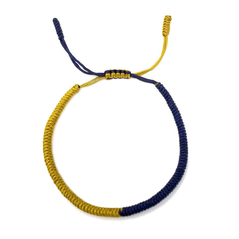 Tibetan Mantra Style Knots Lucky Rope Bracelet-Thickness 3mm  Wide 50mm to 75mm, Gold and Navy