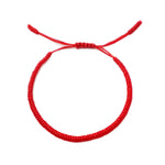 Tibetan Mantra Style Knots Lucky Rope Bracelet-Thickness 3mm  Wide 50mm to 75mm, Red