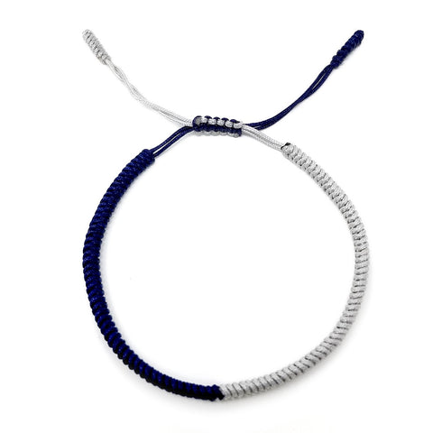 Tibetan Mantra Style Knots Lucky Rope Bracelet-Thickness 3mm  Wide 50mm to 75mm, Silver and Navy