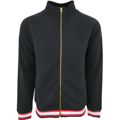 H & W Men's Quilted Baseball Jacket With Gold Zipper-Black