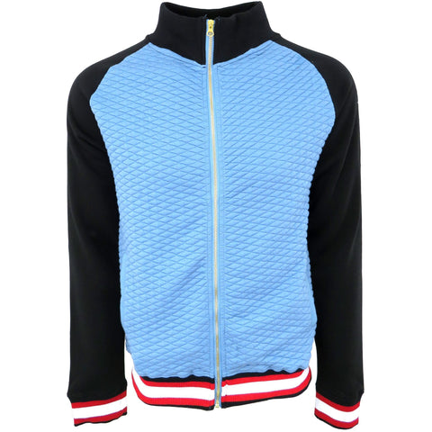 H & W Men's Quilted Baseball Jacket With Gold Zipper-Blue Black