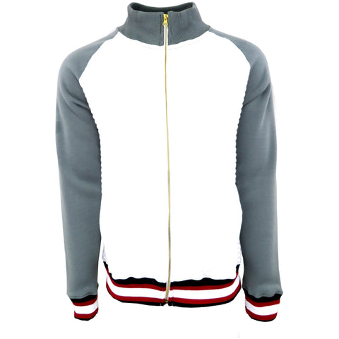 H & W Men's Quilted Baseball Jacket With Gold Zipper-White