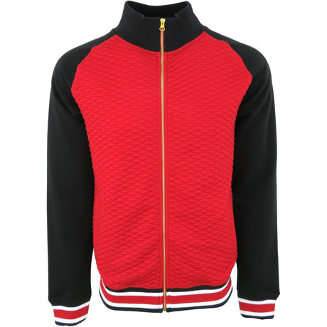 H & W Men's Quilted Baseball Jacket With Gold Zipper-Red Black