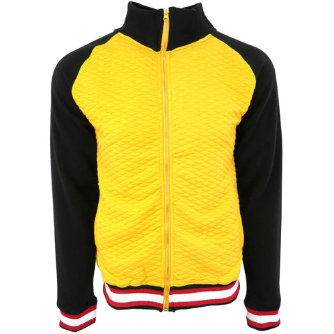 H & W Men's Quilted Baseball Jacket With Gold Zipper-Yellow Black