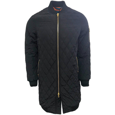H & W Men's Quilted Zip up Long Bomber Jacket