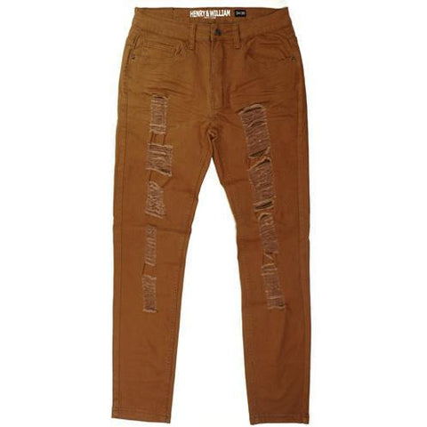 Mens Hipster Basic Solid Distressed Fashion Slim Fit Pants