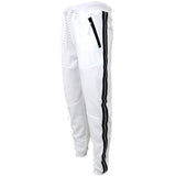 H & W Men's Jogger Pants W/Side Metallic Stripe Accent