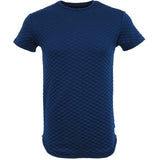 Henry & William Men's Hipster Hiphop Quilted Scalloped Longline Crewneck T Shirt