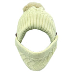 Load image into Gallery viewer, Pompom Knit Warm Fleece Lined Beanie Hat with detachable face cover