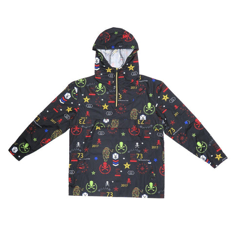 H & W Men's Lightweight Printed Hoodie Windbreaker Pullover