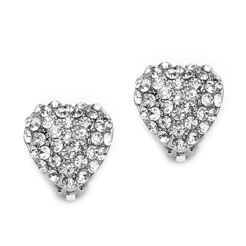 Pave Crystal Heart Clip On Earrings(18 mm)   gemgem jewelry.myshopify.com