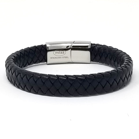 Simple Bold Braided Leather Bracelets for Men Bangle Type Bracelets Magnetic Clasp-8.5 Inch