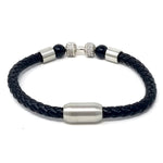 Rhodium Plated  Black Bead Ball Leather Bracelets for Men Braided Bangle Type Bracelets Magnetic Clasp-8.5 Inch