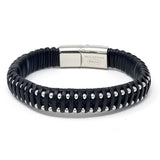 Stainles Steel Bold Pattern Simple Braided Leather Bracelets for Men Bangle Type Bracelets Magnetic Clasp-8.5 Inch