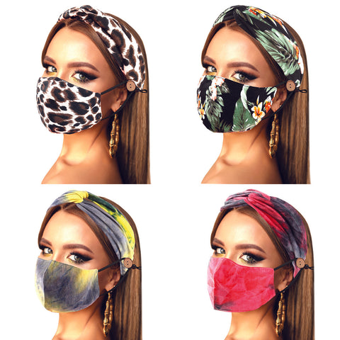 Print Cotton Fashion Mask and Headband Set-4 Colors and Size Free