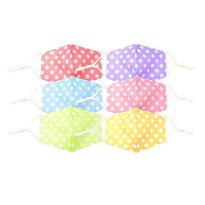 Kid's Polka Dot Pattern Unisex Reusable Non-Medical Fashion Face Masks- 6 Masks