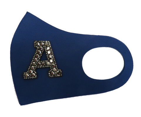 Rhinestone Initial Letters Reusable Fashion Mask-Custom Made-Navy