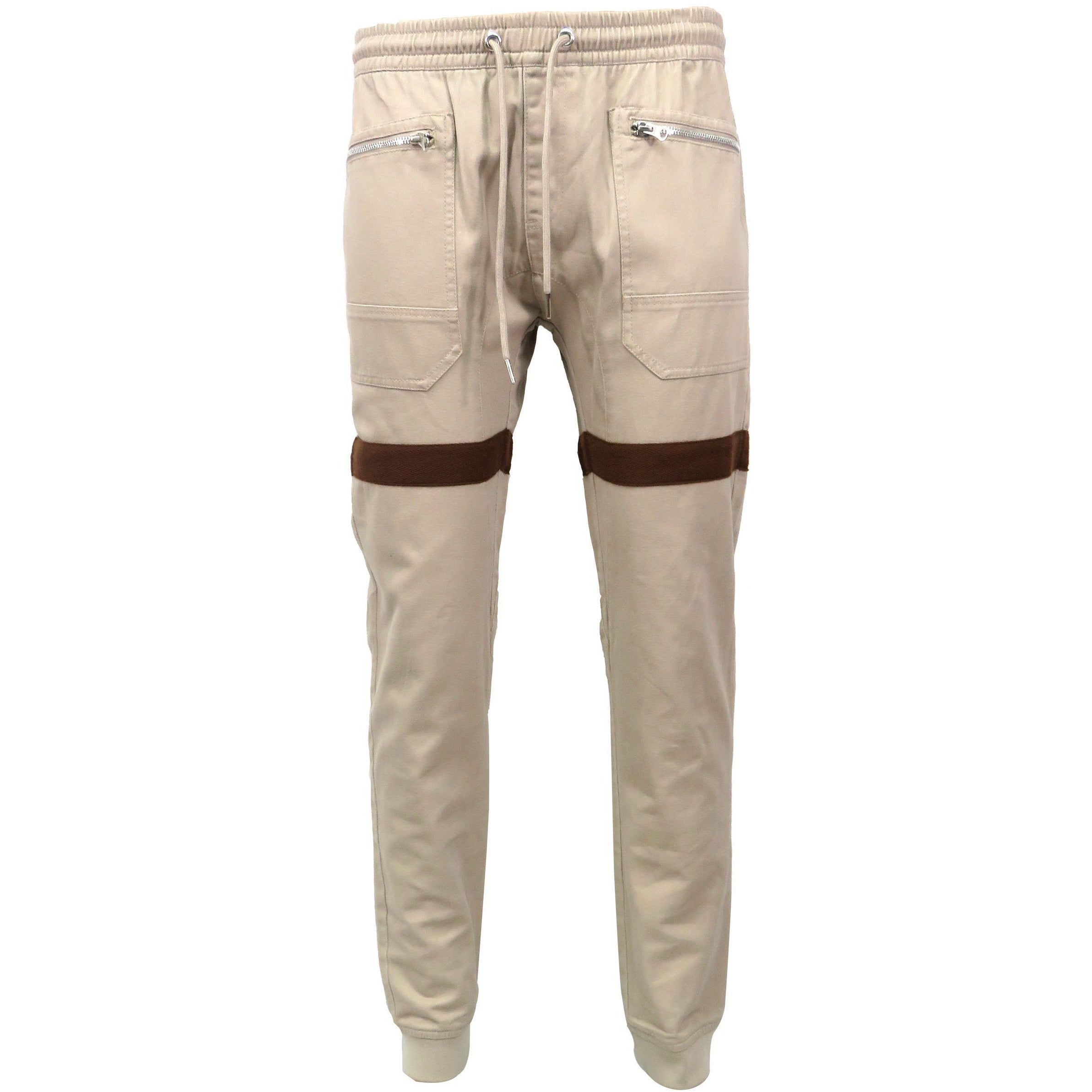 H & W Men's Zipper Front Messenger Twill Jogger Pants