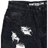 H & W Men's Ripped Distressed Stright Fit Denim Shorts