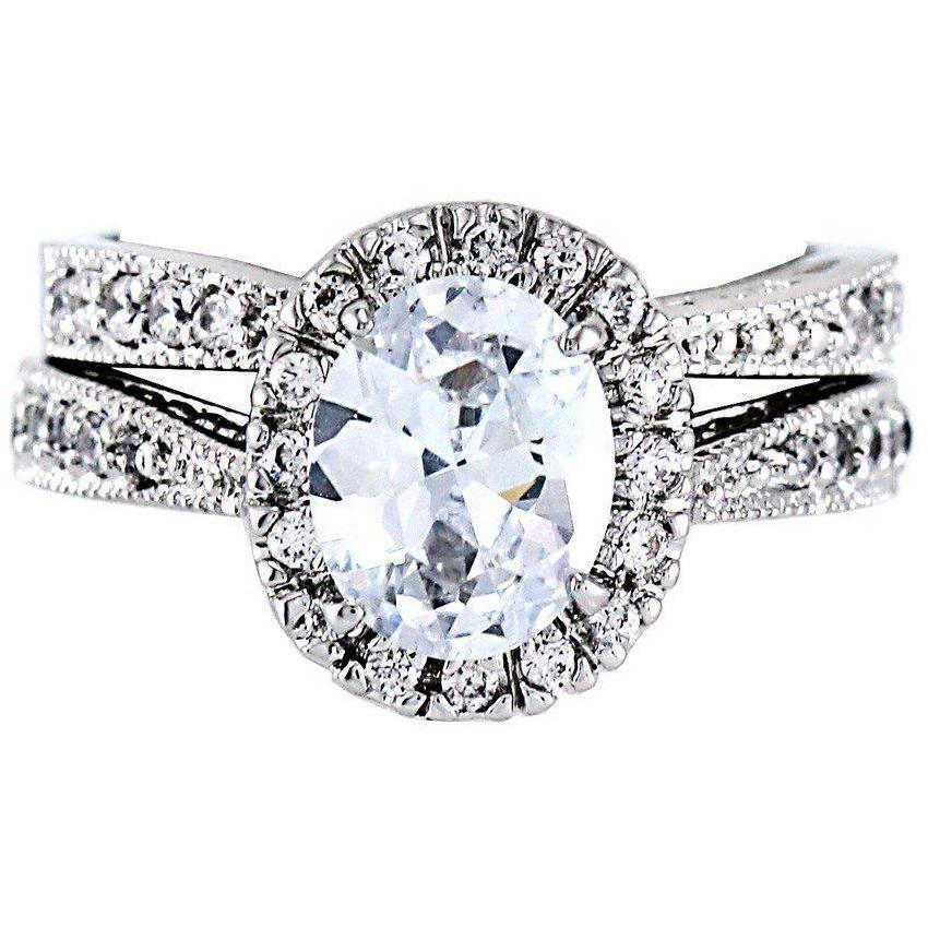 Rhodium Plated Oval Cut CZ Wedding Ring Set