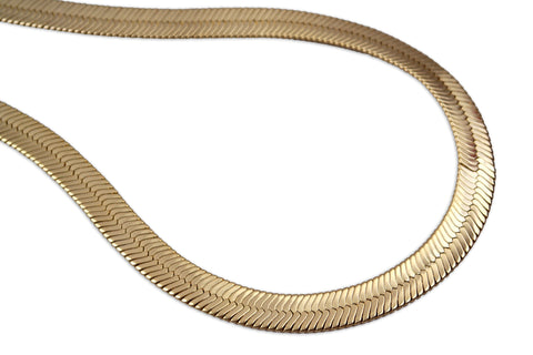 Gold Plated  Unisex Herringbone Chain 10mm - 20 inches, 24 inches, 30 inches