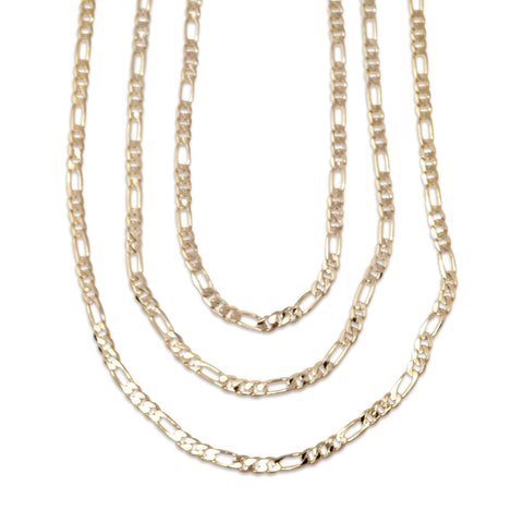 Gold Plated  Unisex Figaro Chain 4mm - 20 inches, 24 inches, 30 inches