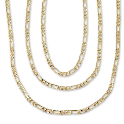 Gold Plated  Unisex Figaro Chain 3mm - 20 inches, 24 inches, 30 inches