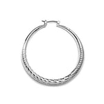 Load image into Gallery viewer, Rhodium Plated Diamond Cut Hollow Hoop Earrings