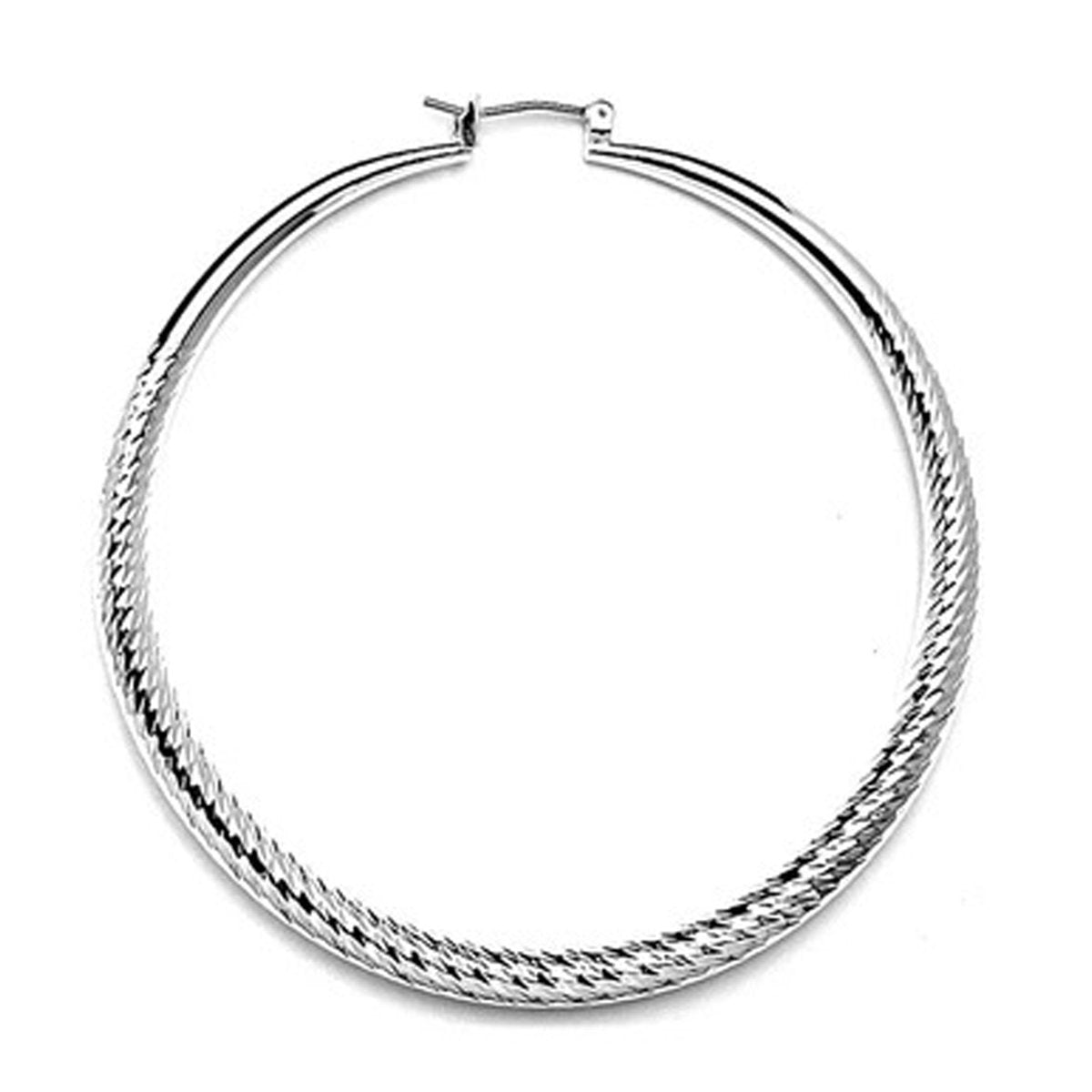 Rhodium Plated Diamond Cut Hollow Hoop Earrings