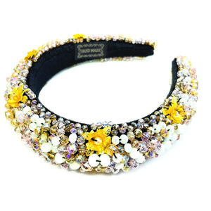 Stone Bead Flower Theme Fashion Headband