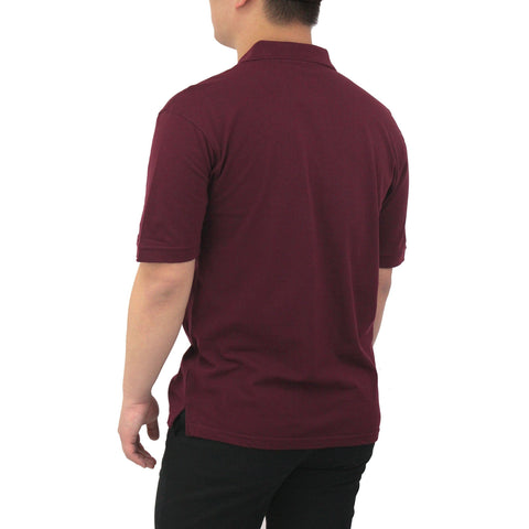 Henry & William Men's Classic Short Sleeve Polo Shirts-Burgundy