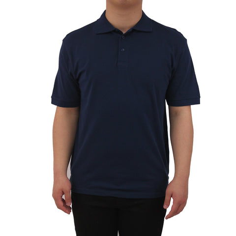 Henry & William Men's Classic Short Sleeve Polo Shirts-Navy