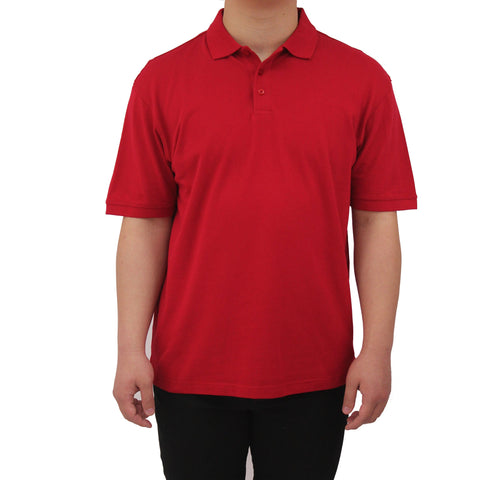 Henry & William Men's Classic Short Sleeve Polo Shirts-Red