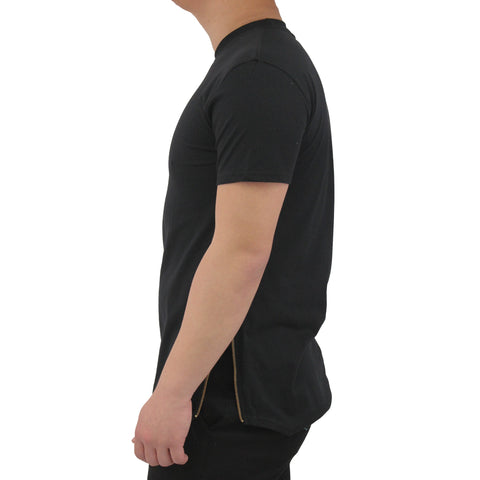 Henry & William Men's Hipster Hip Hop Basic Elongted Longline Crewneck T-Shirt with Curved Hem and Side Zipper