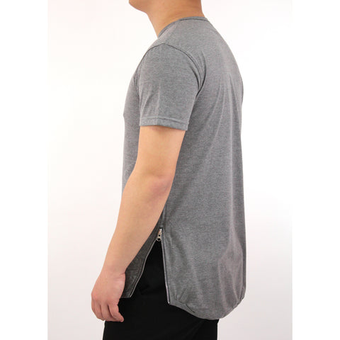 Henry & William Men's Hipster Hip Hop Scalloped Bottom Longline Crewneck T-Shirt with Round Hemline