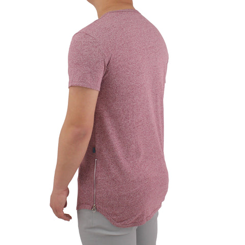 Henry & William Men's Marled Pattern Longline T-Shirt W/Side Zipper