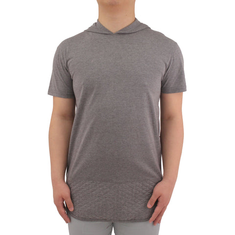 Henry & William Men's Hoodie Quilted Bottom Longline T-Shirt W/Side Zipper