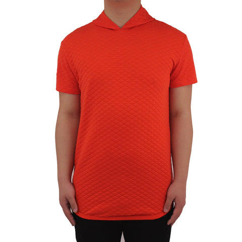 Henry & William Men's Hipster Quilted Short Sleeve Hoodie Longline T-Shirt