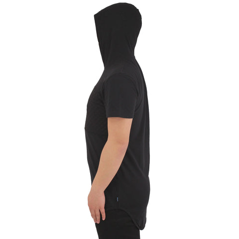 H &  W Men's Scalloped S/S Hooded T Shirt W/Quilted Chest